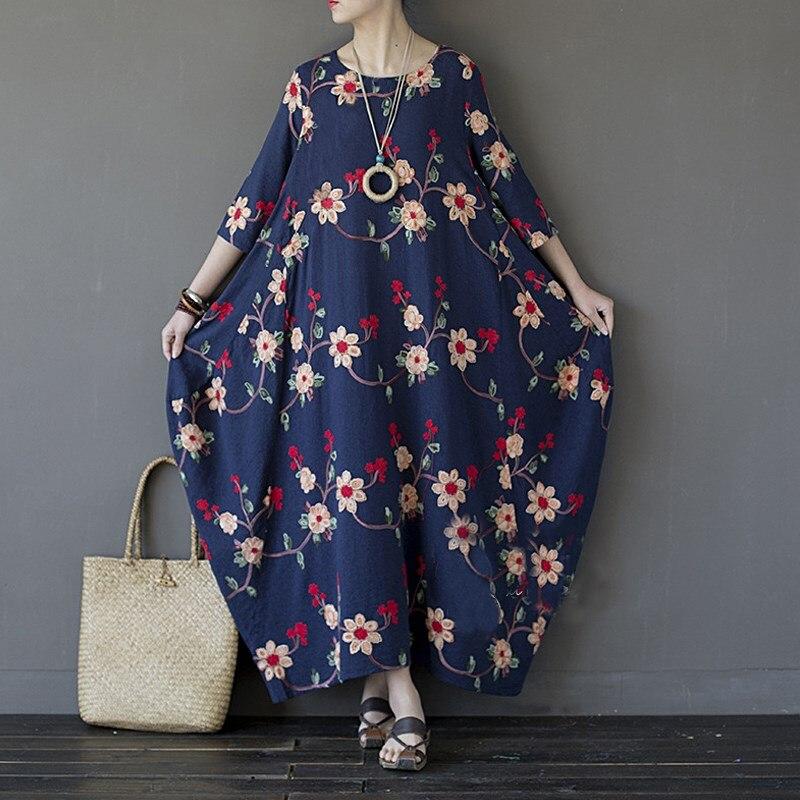 Женское платье большого размера с вышивкой для девочек большая летняя 2019 с О-образным вырезом, 3/4 с длинным рукавом Макси платья осень вечер...