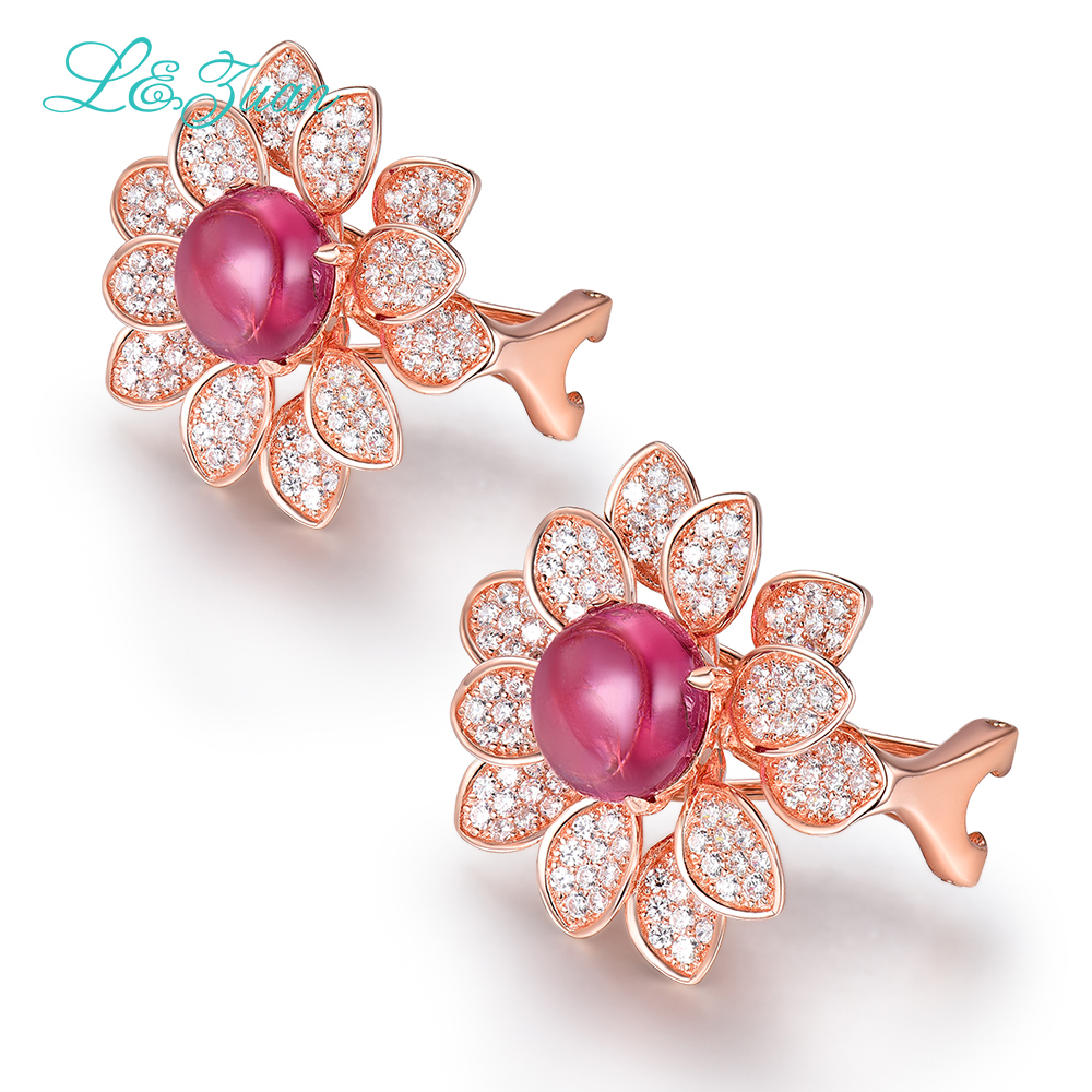 l&zuan 925 Sterling Silver 5.59ct Natural Tourmaline Red Stone Elegant Clip Earrings For Woman As Party Gift Simple Fine Jewelry