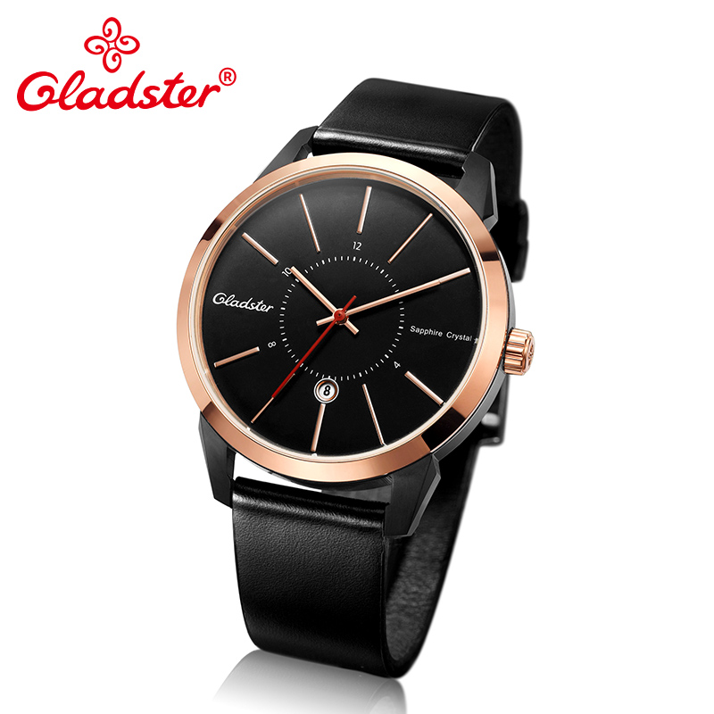 Gladster Luxury Brand Japan MIYOTA 2115-6H Calendar Analog Watch Casual Man Wristwatch Fashion Leather Golden Male Quartz Clock