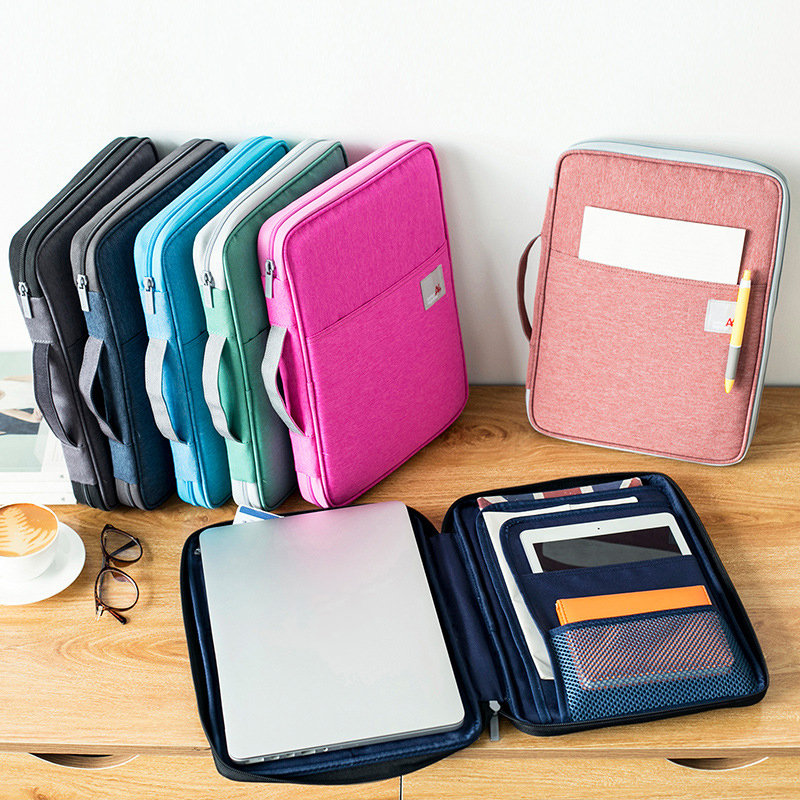 Waterproof Oxfored A4 File Folder Document Bag Business Briefcase Storage Bag For Notebooks Pens Pad Computers Student Gift