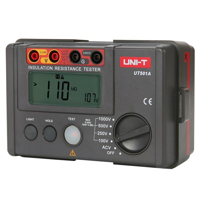 UNI T UT501A Insulation Tester; 1000V Digital Megohmmeter, Light/Buzzer Alarm, Over Load Indication, Automatic Discharge - 3