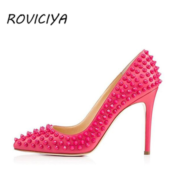 Rose red pumps women shoes rivets female party shoes bride ladies shoes high heel plus size 8-12 cm 33-45 MD020 ROVICIYA