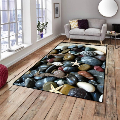 Else Black Blue Pebble Stone Sea Shells Star 3d Print Non Slip Microfiber Living Room Decorative Modern Washable Area Rug Mat