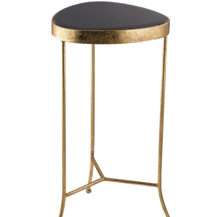 Sterling Black Onyx Cocktail Table - Gold With Black sterling dodecahedron cube black