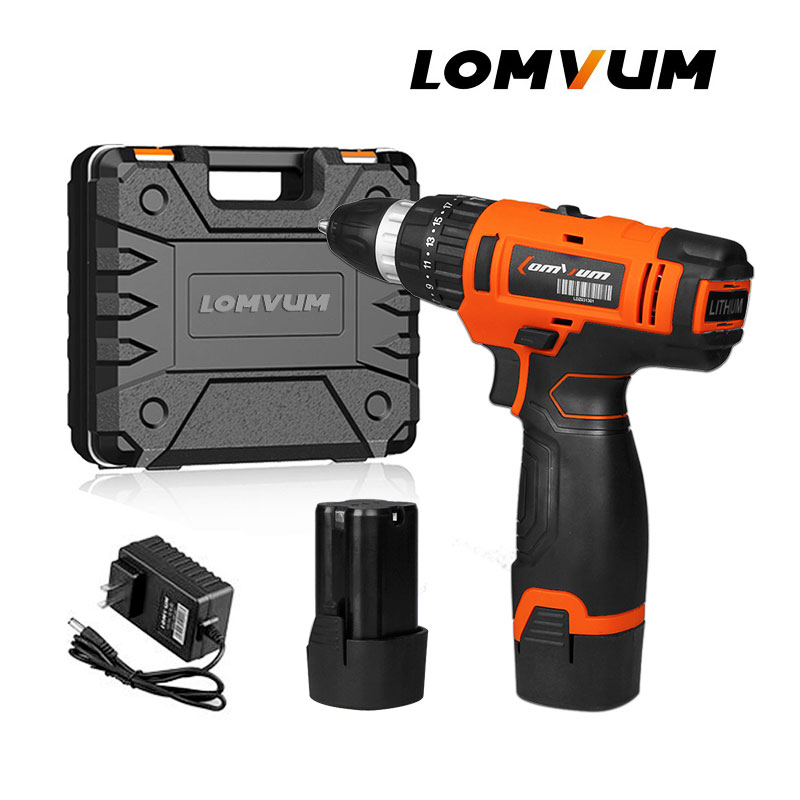 LOMVUM Hot Sale 16VDouble Speed Multi-function Cordless Screwdriver Lithium/ Battery Electric Double Speed Adjustment Mini Drill