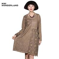NINI WONDERLAND New 2018 Spring Summer Long Sleeve Patchwork Lace Fashion Knee Length Dress Women Vintage