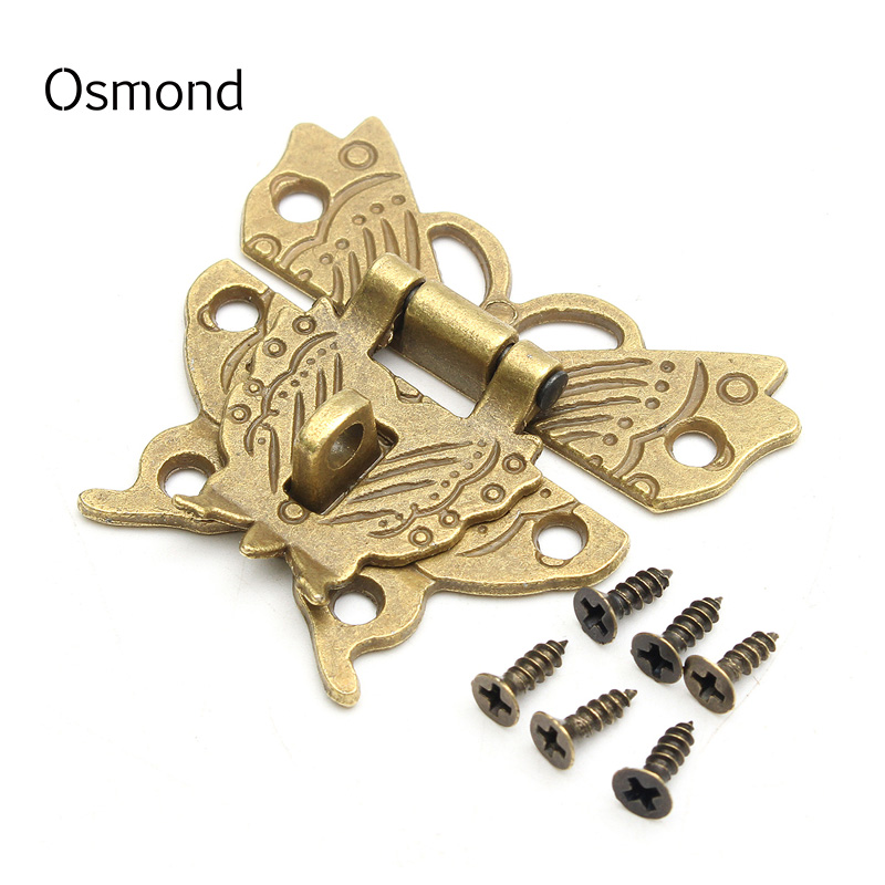 Osmond 50x33MM Beautiful Butterfly Design Antique Bronze Hasp Latch Lock Cabinet Buckle Case Bag Accessories DIY Locks Closure osmond 37x25mm metal lock hardware cabinet boxes diy bag accessories latch catch toggle bags parts button clasp closure locks