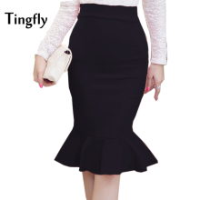 Tingfly 2017 Women Mermaid Skirt Fashion OL Slim Bodycon Office Wear Ruffles Hem Mermaid Style Plus Size Ladies Work Skirt