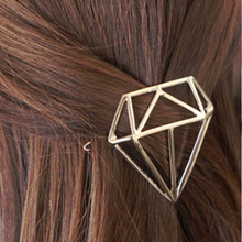 New Arrival Hot Hollow Out Fashion Cute Women Gold Silver Hairpin Diamond Shape Hair Clip Hair Accessories