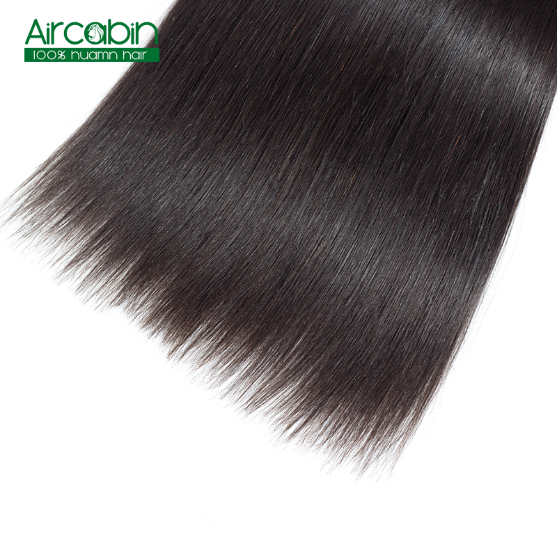 Peruvian Human Hair Weave 4 Bundles Straight Hair Bundles Remy Extensions Natural Black Can be Dyed and Bleached AirCabin