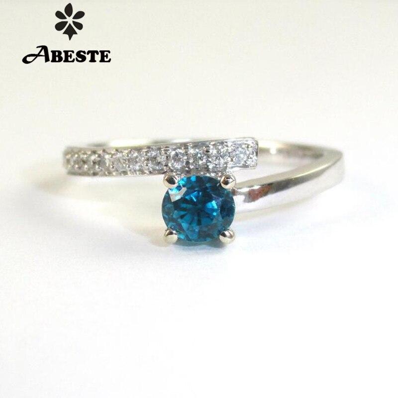 ANI 18 К из белого золота (AU750) для женщин обручальное кольцо с бриллиантом 5 мм натуральный голубой циркон Fine Jewelry Enagement драгоценных камней anillos