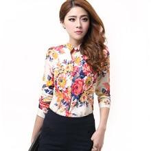 2018 Summer Women's Clothing Lady Blouses Printed Stand Collar Long Sleeve Chiffon Slim Shirts