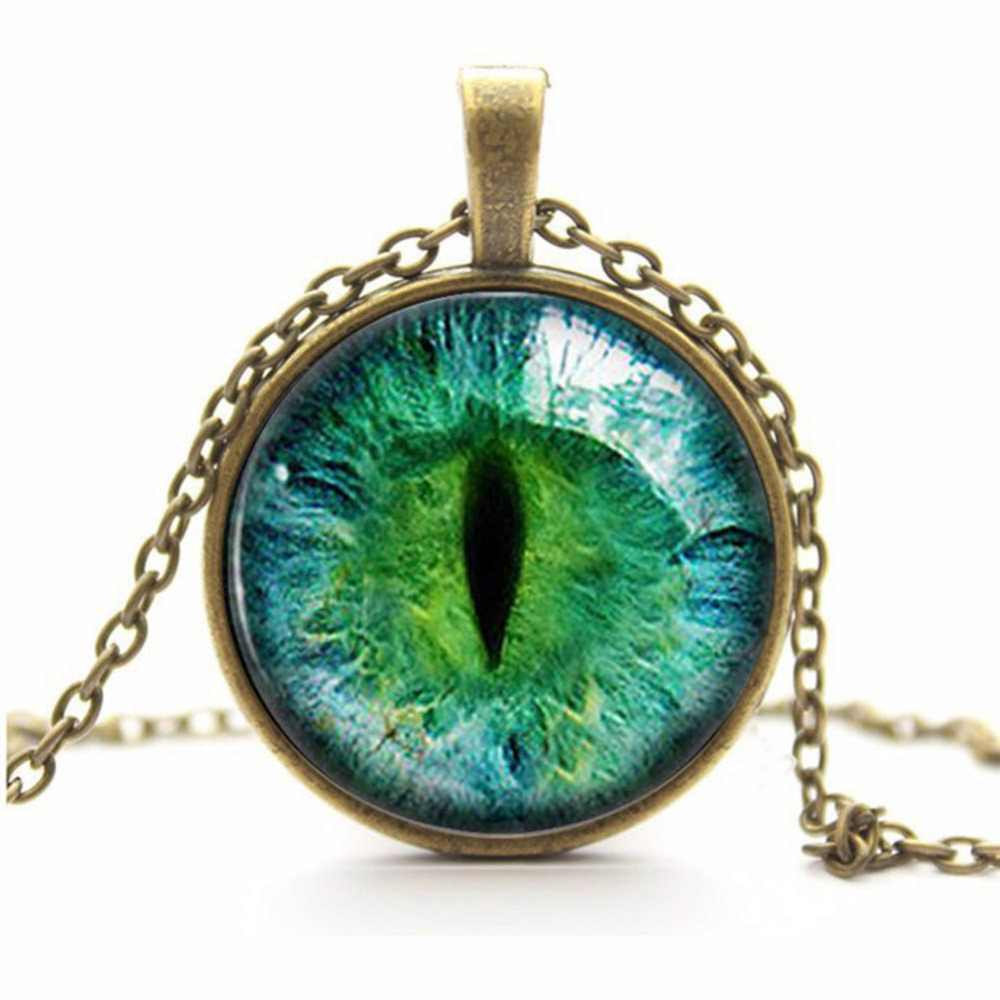 New Style 6 Colors Dragon Cat Eye Glass necklace Plated Circular Pendant Necklace For Woman Gift Charm Jewelry bijoux femme