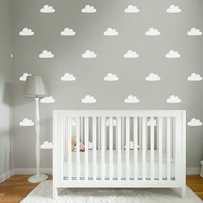 50 Pcs Set Cloud Decorative Wall Stickers Home Decor Bedroom White Wall Decals Kids Removable