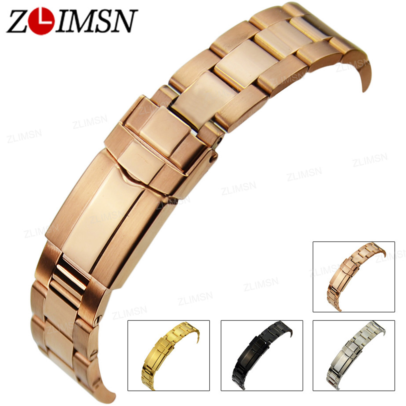 ZLIMSN Silver Watch Strap 316L Solid Stainless Steel Watchband 17mm 20mm Curved End Bracelets Deployment Clasp Relogio Masculino watchband 20mm new heavy solid 316l stainless steel watch bands bracelets for bu1350 bu1366 bu1360