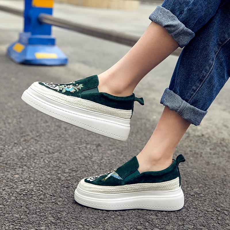 Genuino Cuero Primavera Zapatos 2019 Bordado Nueva La 6 Casuales verde Las Cuña Deporte De Mujeres Plataforma Negro Cm Zapatillas n0qYwSdq