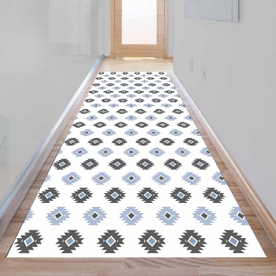 Else Aztec Bohemian Gray Blue Geometric 3d Print Non Slip Microfiber Washable Long Runner Mat Floor Mat Rugs Hallway Carpets