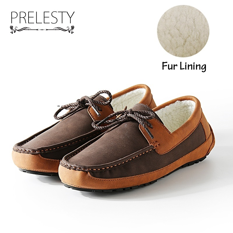Prelesty Autumn Winter Warm Leather & Fur Vintage Leather Soft Loafers for Men Slip On Moccasins Top Sider Boat Shoes Flats branded men s penny loafes casual men s full grain leather emboss crocodile boat shoes slip on breathable moccasin driving shoes