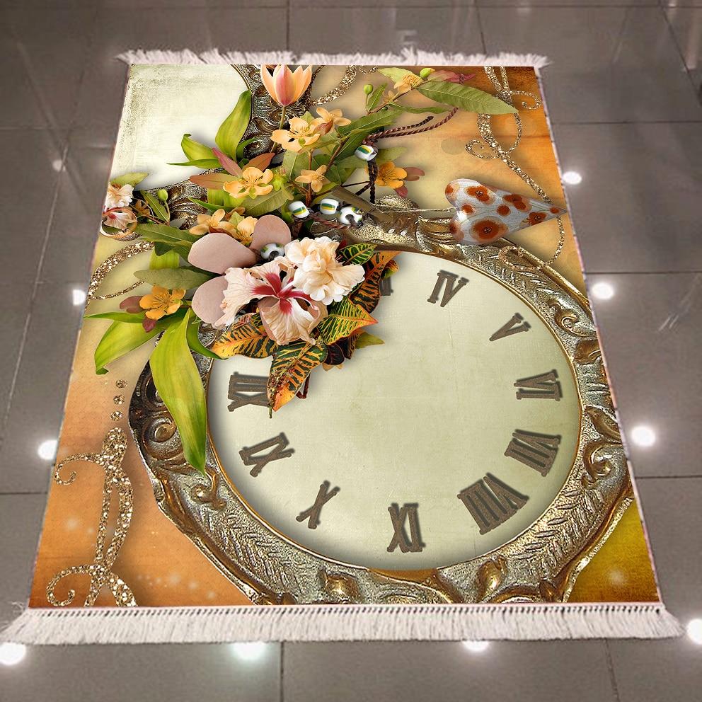 Else Retro Time Clock Brown Floor Vintage Flowers 3d Print Microfiber Anti Slip Back Washable Decorative Kilim Area Rug Carpet