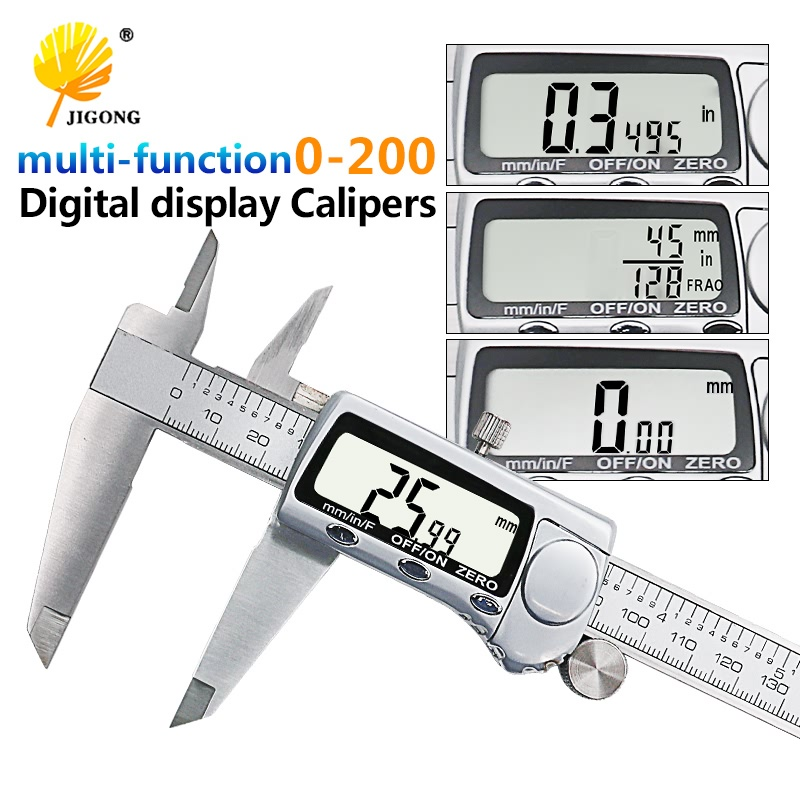 JIGONB Electronic Digital Caliper Inch Metric Fractions Conversion 0-8 Inch 200mm Stainless Steel Body Extra Large LCD Screen