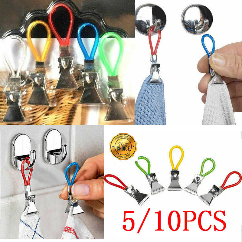 5/10PCS Strong Home Kitchen Hooks Wall Hook Hanger Waterproof Tea Towel Hanging Clips rack For Kitchen Bathroom Wholesale Price