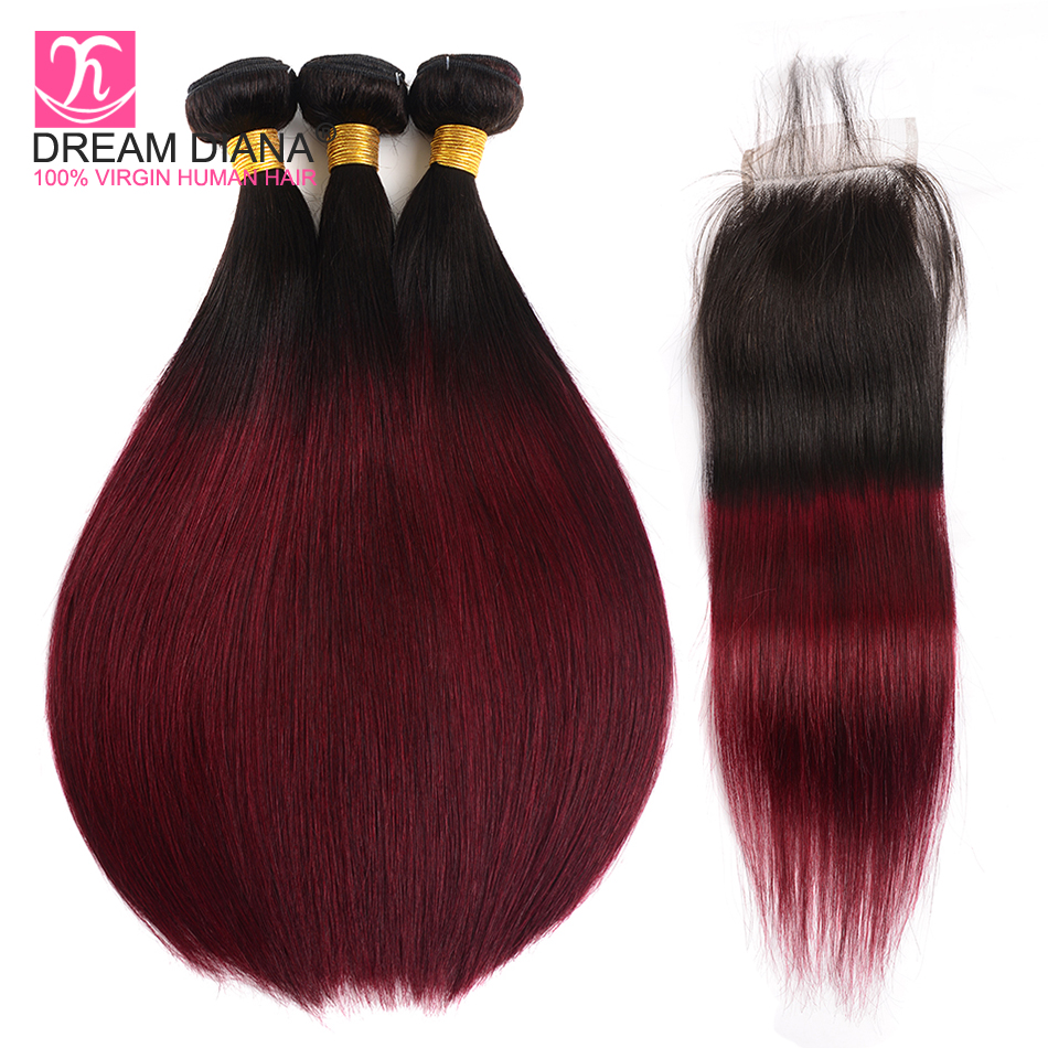 Dream Diana Ombre Brazilian Straight Hair With Closure 3 Remy Straight Red Wine Bundles With Closure Ombre Bundles With Closure