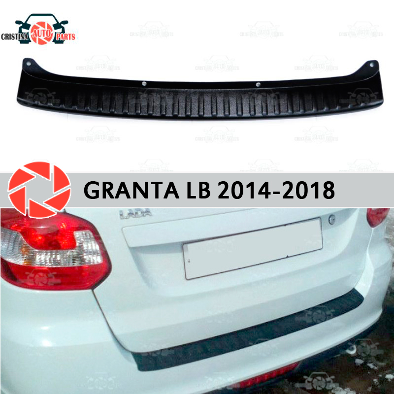 For Lada Granta 2014-2018 LIFTBACK guard protection plate on rear bumper sill car styling decoration scuff panel accessories free shipping fog light for peugeot 607 lr2 2006 2014 car styling front bumper led fog lights high brightness fog lamps 1set