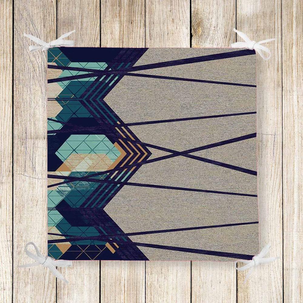 Else Blue Green Geometric Lines Gray 3d Print Chair Pad Seat Cushion Soft Memory Foam Full Lenght Ties Non Slip Washable Zipper