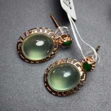Fine Jewelry Collection Real 18K White Gold AU750 100% Natural Prehnite Gemstone Myanmer Origin Drop Earrings for Women fine jewelry collection real 18k white gold au750 100% natural bluetopaz gemstone brazil origin drop earrings for women