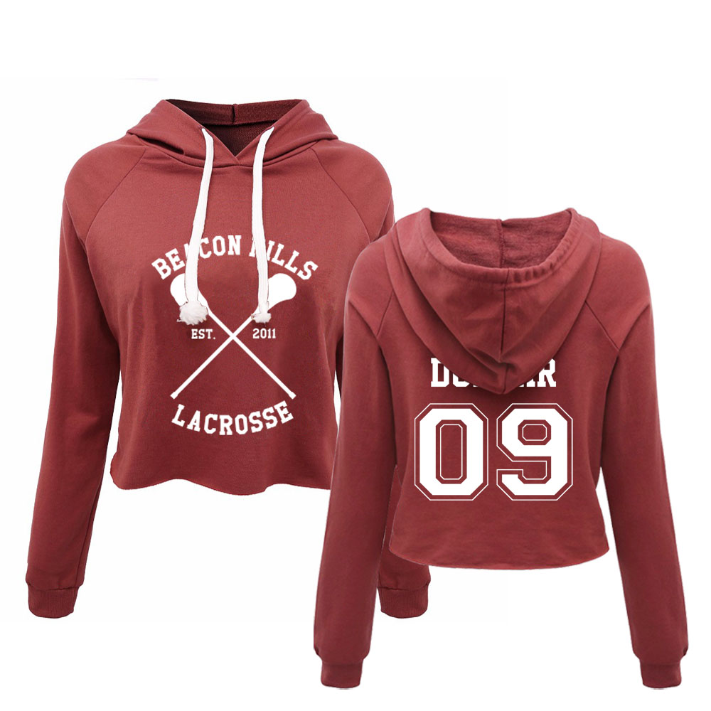 BEACON HILLS LACROSSE Crop top Hoodie Womens Spring / Autumn New Fashion Print Pullovers cropped hoody top