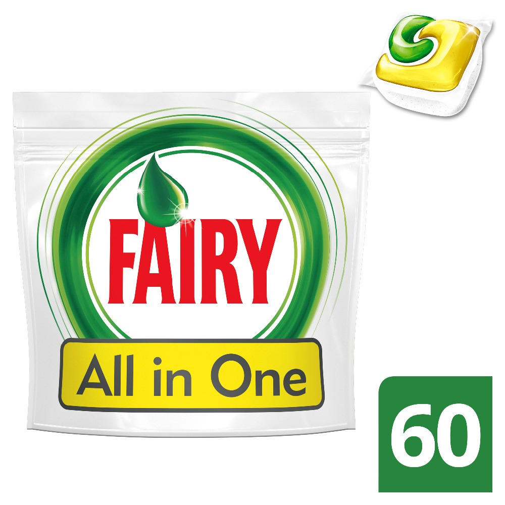 Lemon Dishwasher Tablets Fairy All In One Lemon (Pack of 60) Tableware Washing Dishes Detergents for Dishwashers lemon dishwasher tablets fairy all in one lemon pack of 84 tableware washing dishes detergents for dishwashers
