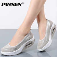 PINSEN Women Flat Platform Shoes Woman Moccasin Zapatos Mujer Platform Sandals Slip On For Ladies Shoes