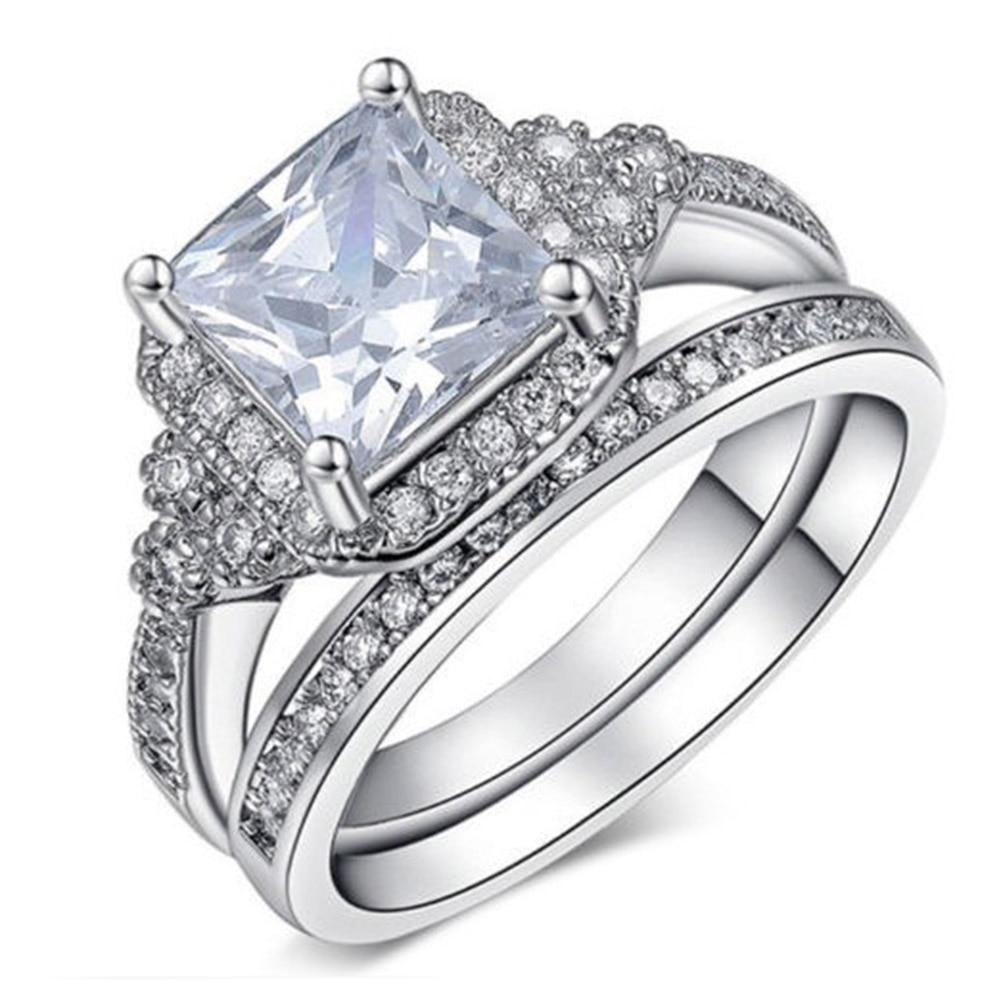 Wedding Ring Set Luxury CZ Jewelry Vintage Rings For Women Cincin Wanita Cubic Zirconia Bridal Sets Bijouterie
