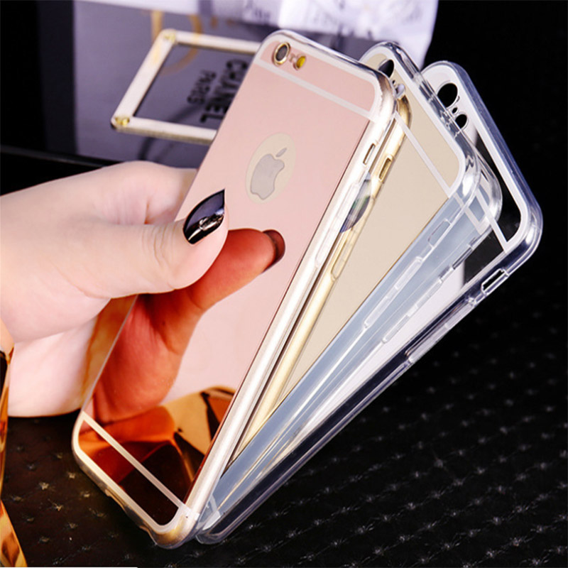 Gorgeous New Soft Back Cover For iphone 4 4S 5 5S SE 6 6S Plus 7 Plus X TPU Mirror Effect Shell Back Phone Case