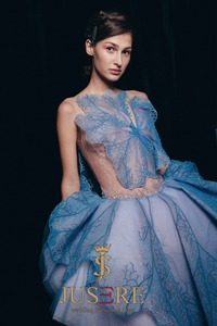 Image 2 - Женское вечернее платье с вышивкой JUSERE, синее Прозрачное платье для встречи выпускного вечера, 2019