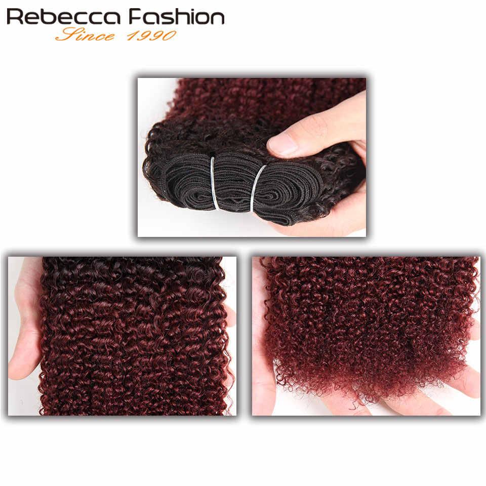Rebecca курчавые волосы афро на Трессах вьющиеся волосы только 1 шт. Омбре бразильские человеческие волосы плетение пучки сделки T1B-30 33 99J remy наращивание волос