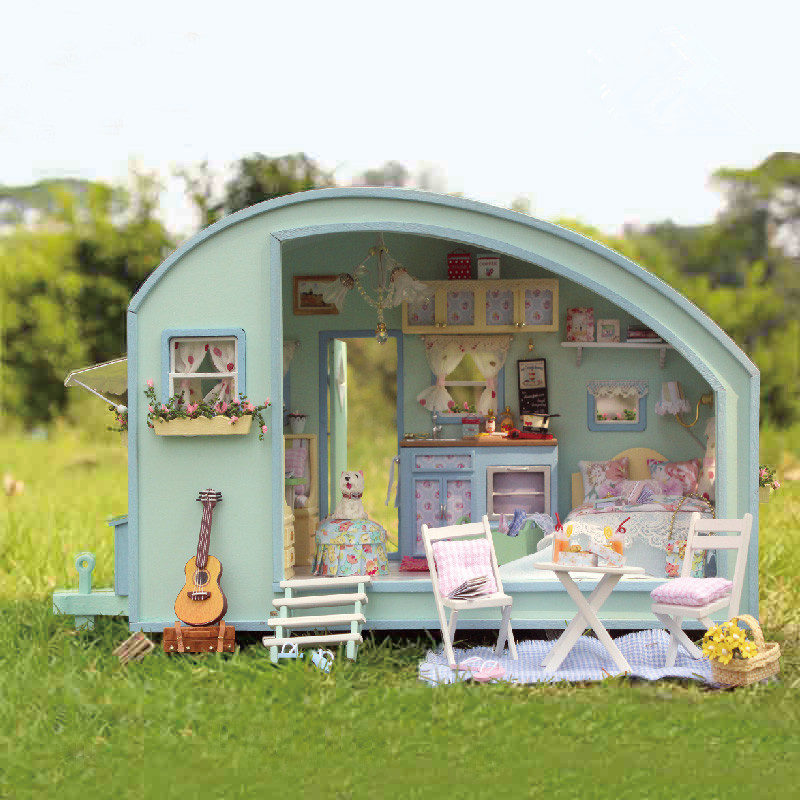 Cuteroom DIY Wooden Dollhouse Miniature Kit Doll house LED+Music+Voice Control Handmade Kits Travel Caravan For Girls wooden handmade dollhouse miniature diy kit caravan