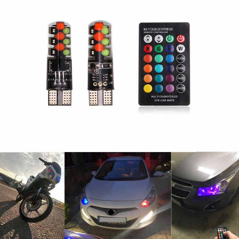2019 Led W5W T10 RGB luz Clearance Car New Universal COB RGB SMDs 12 Colorido Modo Multi Car Light Bulbs com o Controlador Remoto