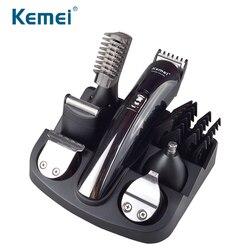 Kemei 6 в 1 Перезаряжаемые волос триммер Титан машинка для стрижки волос электробритва триммер для бороды Для мужчин Инструменты для укладки с...