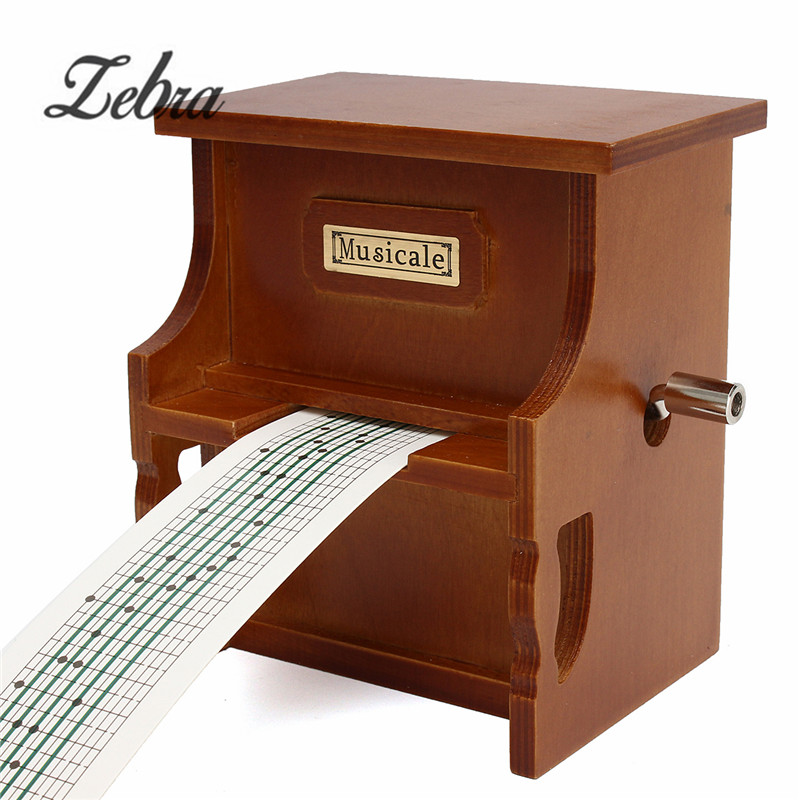 1Pcs Wood Hand Crank DIY Compose Music Box Combo Little Piano Musical Instrument Accessory With Music Paper Tape diy 15 tones hand cranked music box movement with hole puncher and paper tape