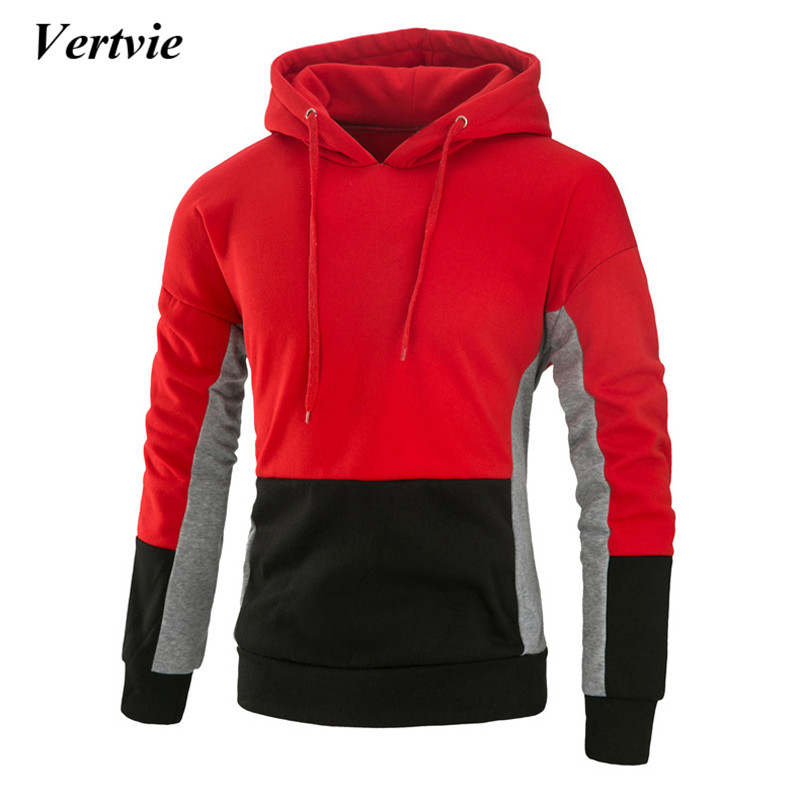 Vertvie Patchwork Mens Hooded Pullover Sweatshirt Running Fitness Breathable Autumn Winter Long Sleeve Sportswear Sport Suit