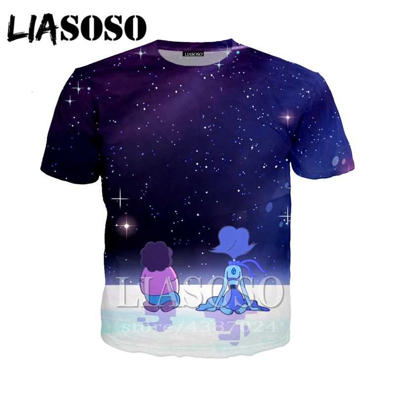 Liasoso Lengan Pendek Fashion Tshirt Kaos Anime 3D Cetak Kartun Steven Alam Semesta Pria/Wanita Kasual T Shirt Atasan d654