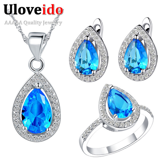 Uloveido Promotion 2016 Fashion Jewelry Set Women's Silver Cubic Zirconia Wedding Accessories Christmas Gifts for Women T246