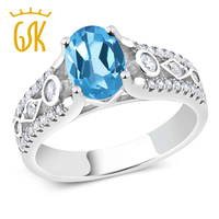 1 86 Ct Oval Blue Topaz 925 Sterling Silver Ring