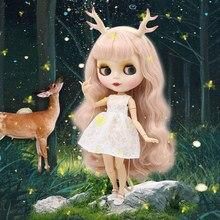קפוא מפעל blyth הבובה 1/6 צעצוע חיוור ורוד שיער לבן עור משותף גוף bjd איילים סרט לבן שמלת חתול נעליים 30cm
