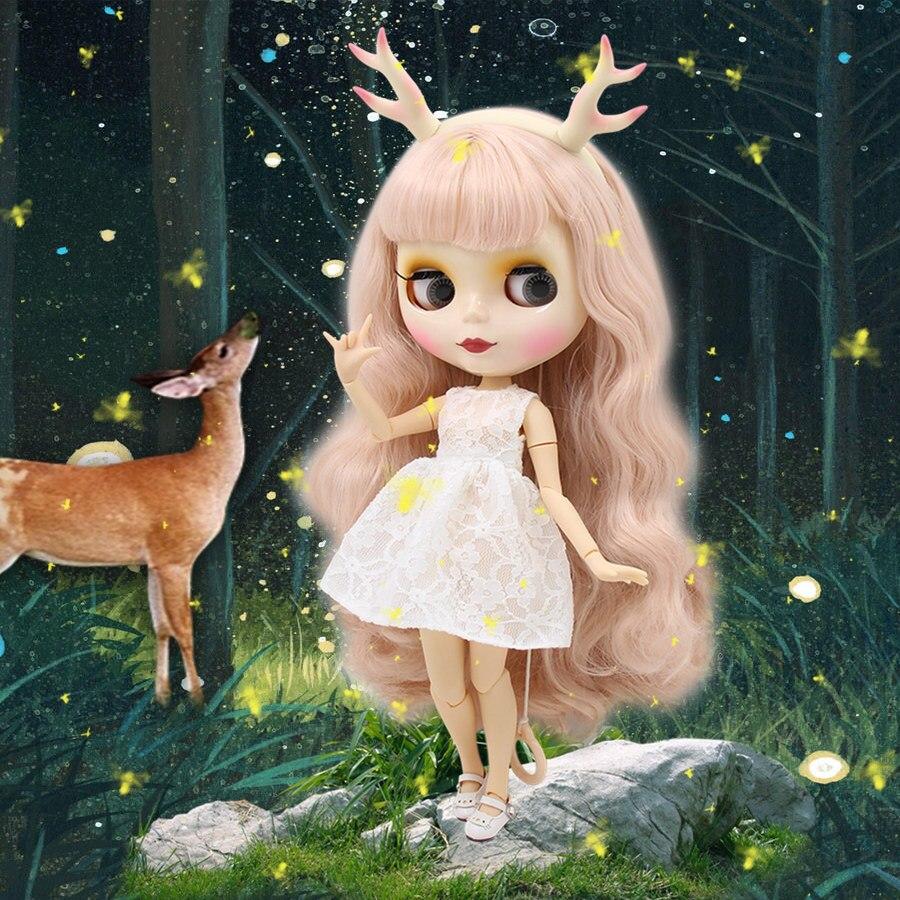 все цены на factory blyth doll pale pink hair with bangs white skin joint body elk headband white dress cat shoes combination 1/6 30cm онлайн