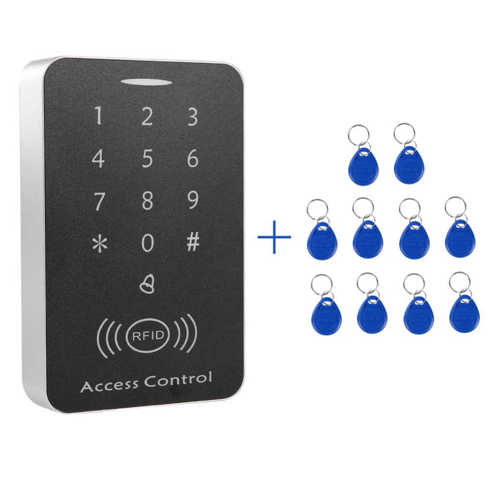 Controller Password EM keychains RFID Access Control Keypad digital panel Card Reader For Door Lock System rfid access controller card reader with digital keypad 125khz 13 56mhz smart keyless em lock for door access control system