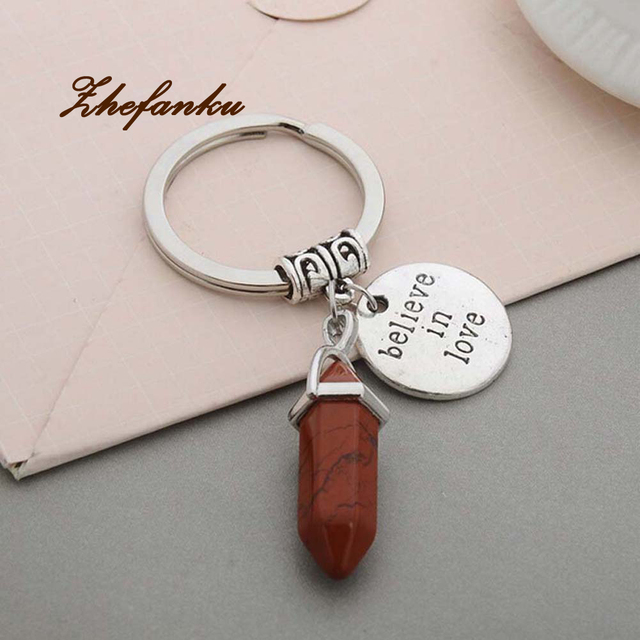 Natural Stone Keychain Believe In Love Round Pendant Keyring Car Key-chains  Jewelry Men Women s Silver Bullet Jewelry f6f77c92a