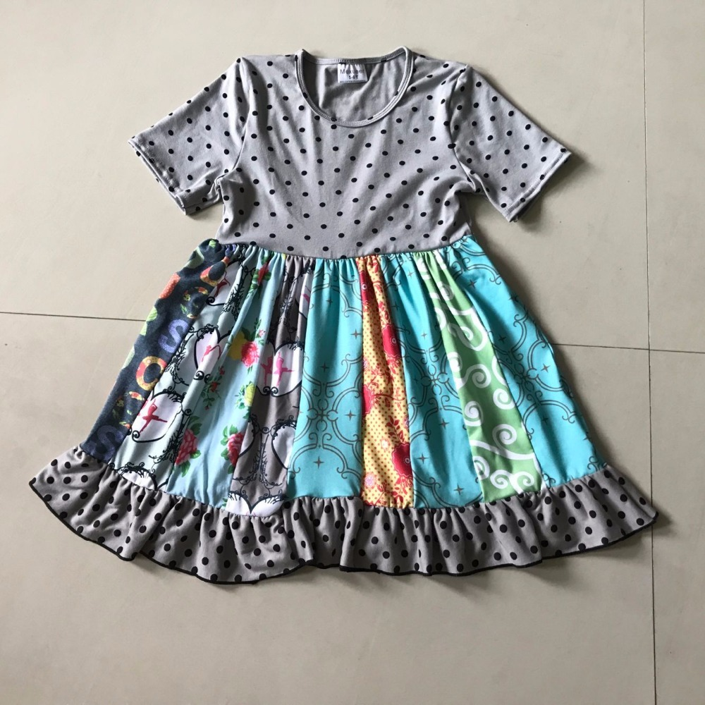 2017New Stlye Summer and Autumn Children Fashion Baby Girls dress Splice Printed Cloth and Infant For Kids birthday present 2017 new children and adolescents autumn