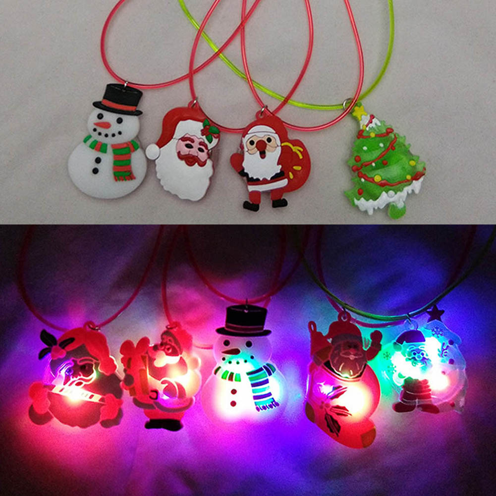 Kids Led Glow Necklace Toy Luminous Christmas Series Xmas Tree Lighting  Flashing Pendant Ornaments Baby Necklace Toy Gifts